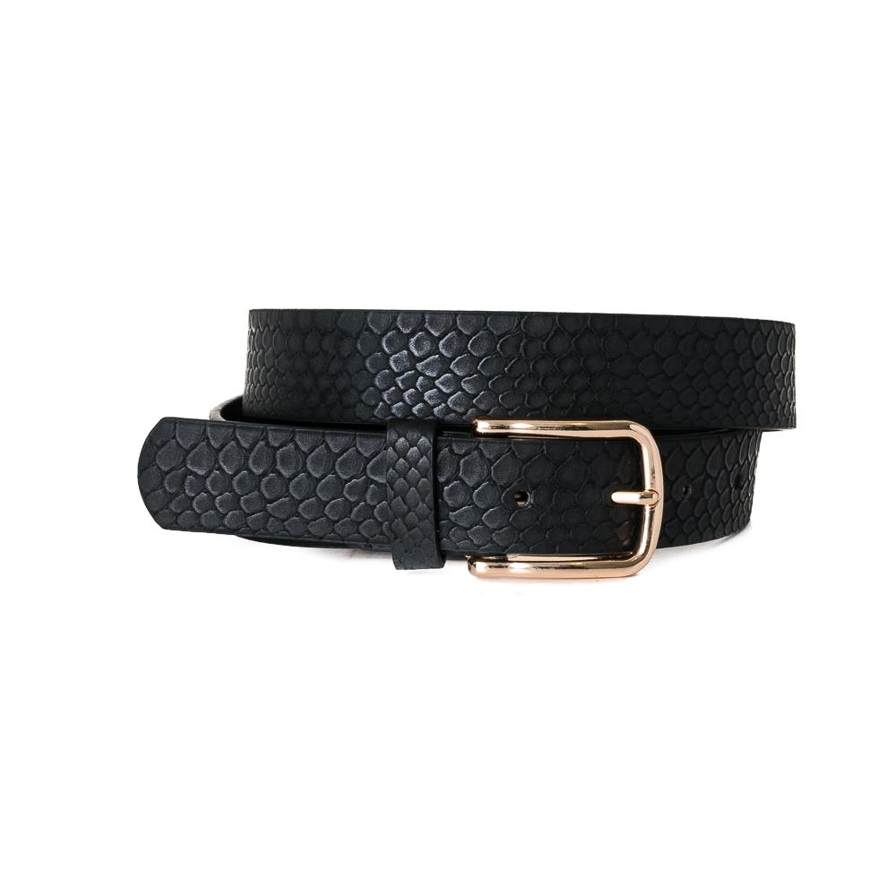 Belt, Croco Imm Belt Gold Buckle Black