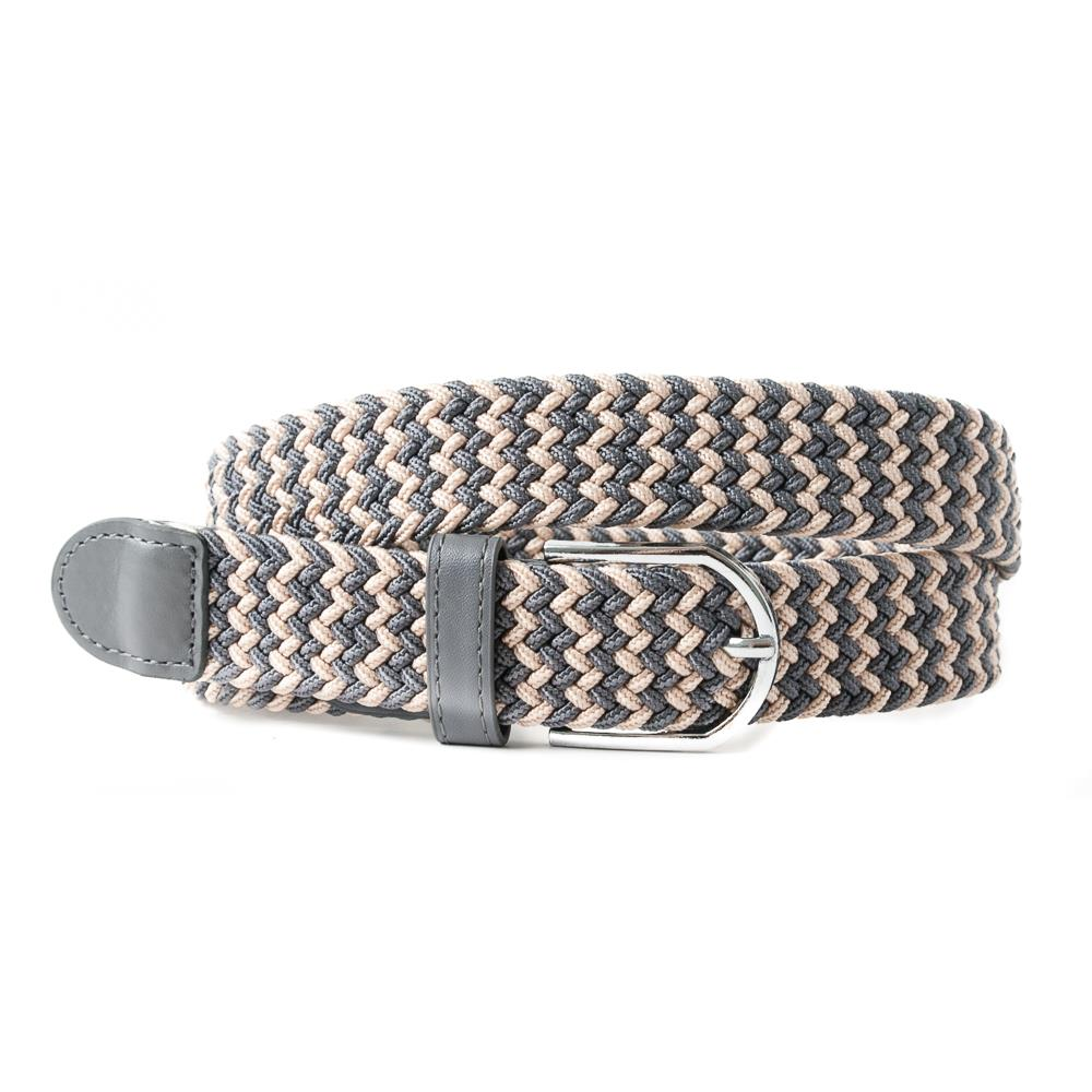 Belt, elastic braided multicolored grey