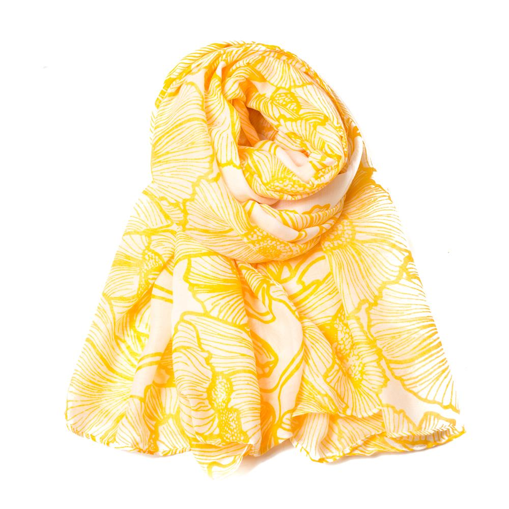 Scarf, grafical plain flower yellow