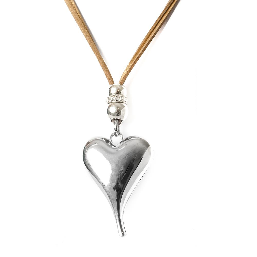 Necklace, leather heart cognac/silver