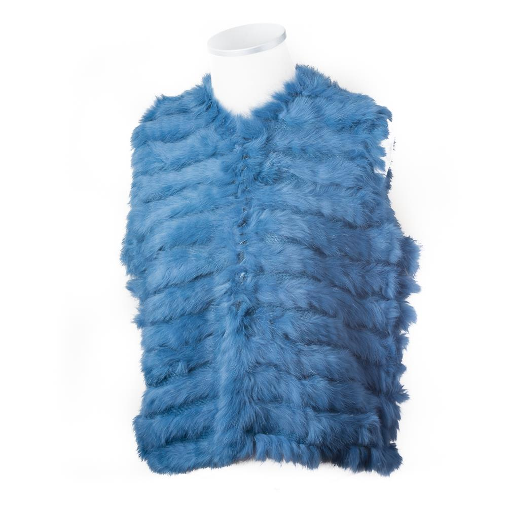 Scarf, fur west Jeansblue