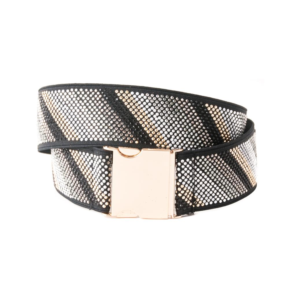 Belt, Elastic ribbon with buckle and rivets silver