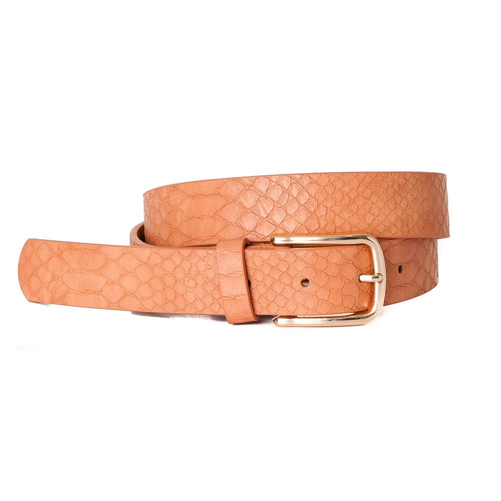 Belt, Croco Imm Belt Gold Buckle Orange
