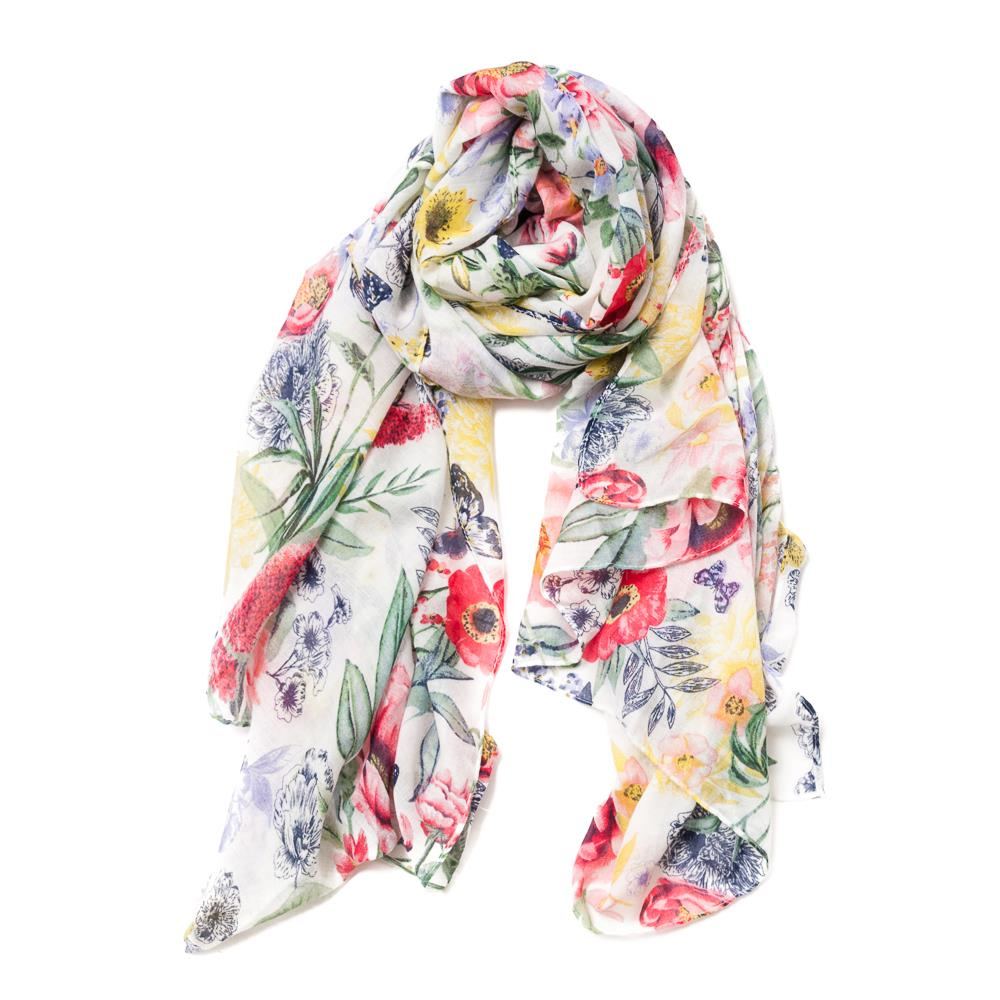 Scarf, flowers white