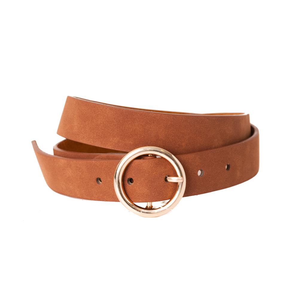 Belt, pu/leather sirkle buckle dk orange