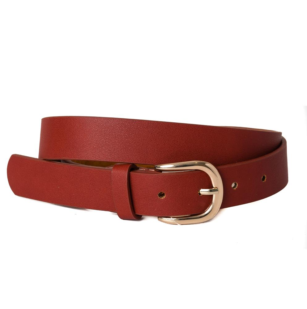 Belt, pu/leather plain gold buckle dark brick