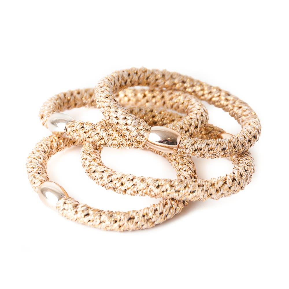Elastic hair tie gold 6 pcs