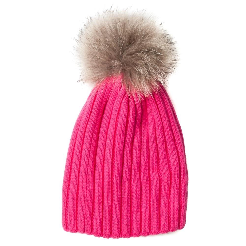 Hat,kabel knitted w fur pompom pink