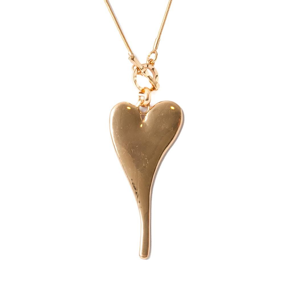 Necklace, chain lock heart gold