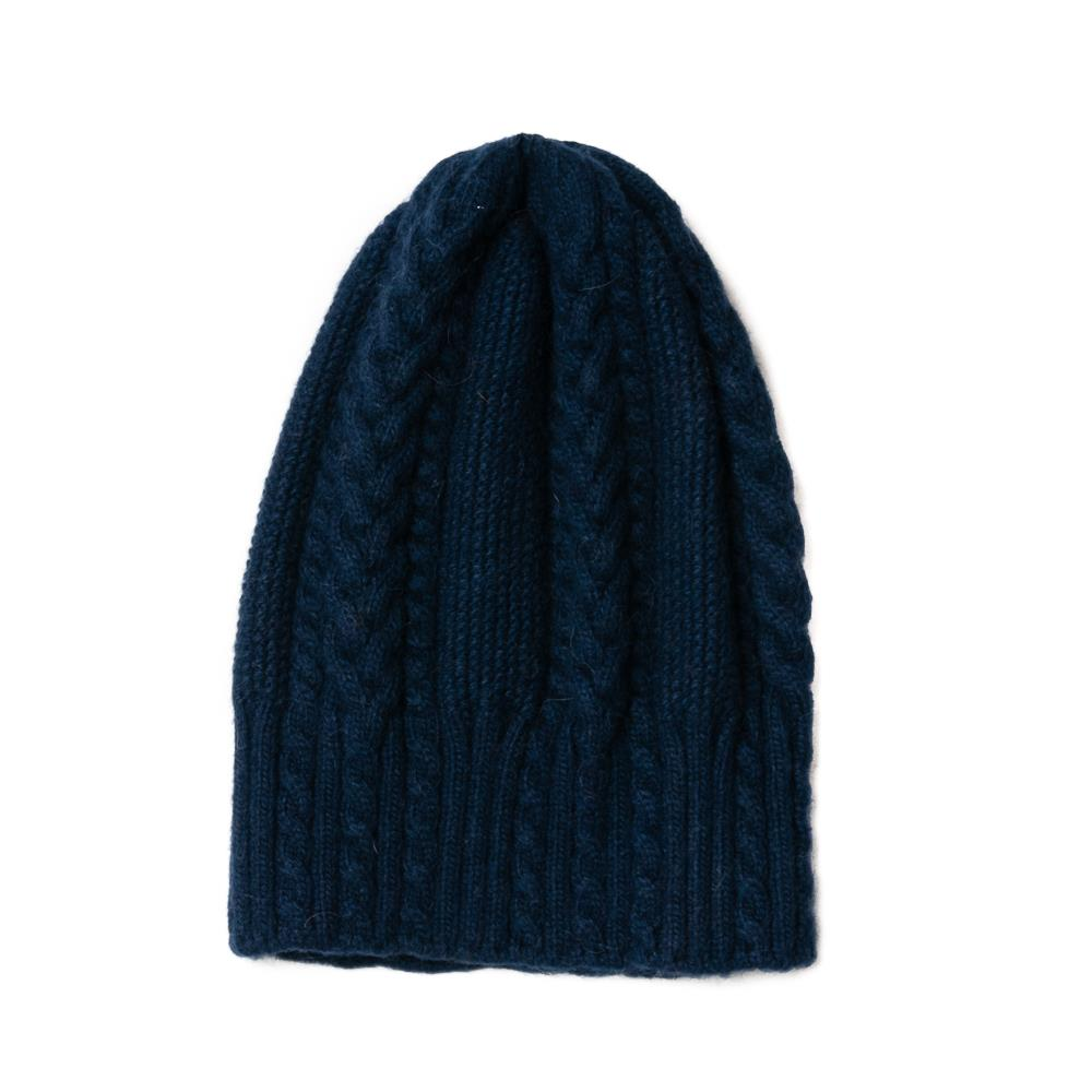 Hat, knitted kabel navy