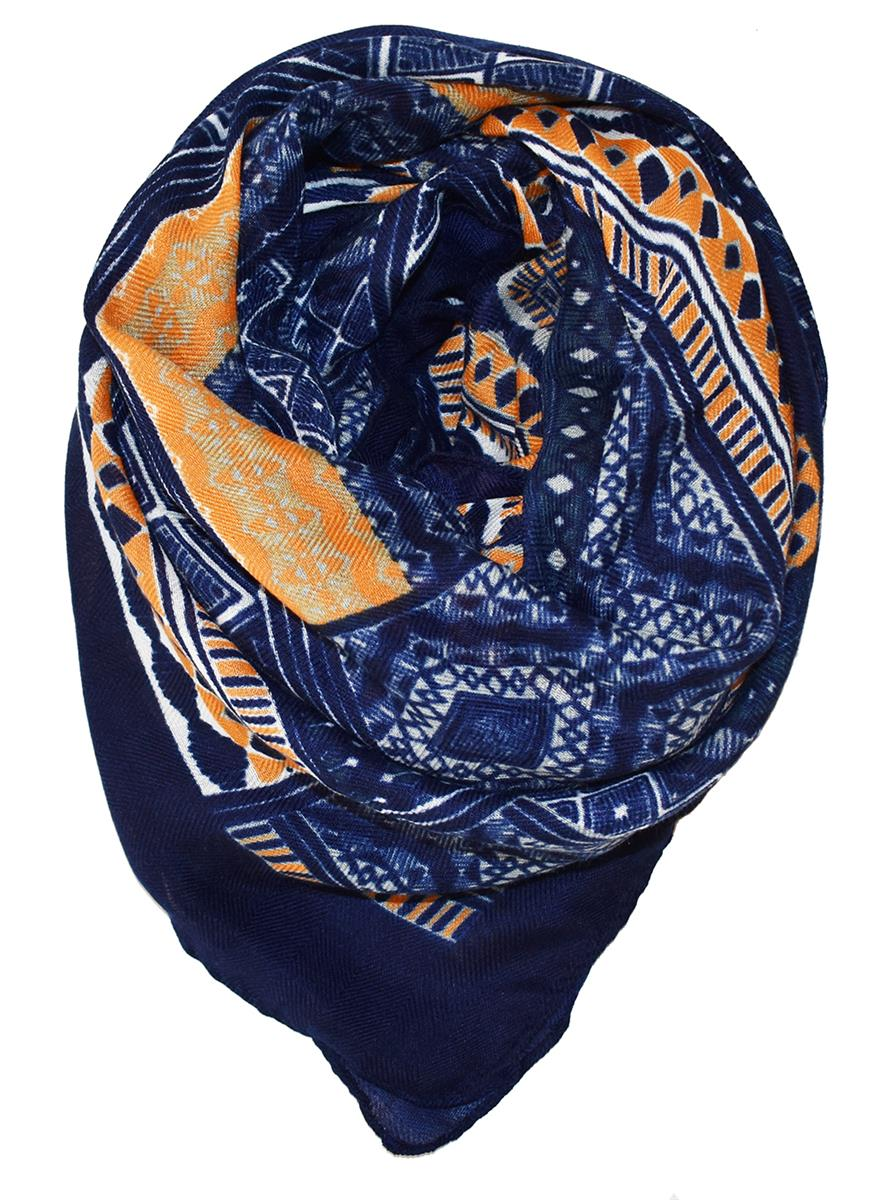 Scarf, Big scare blue/dk yellow pattern