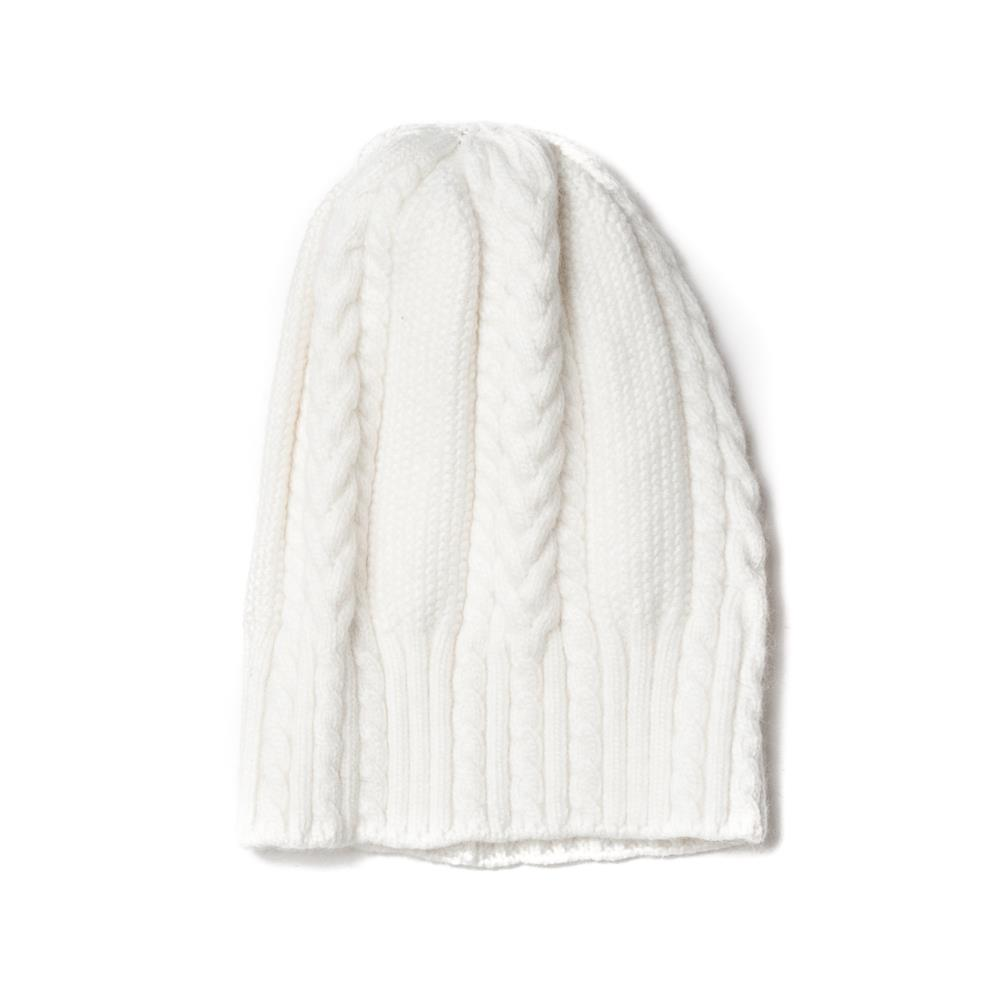 Hat, knitted kabel offwhite