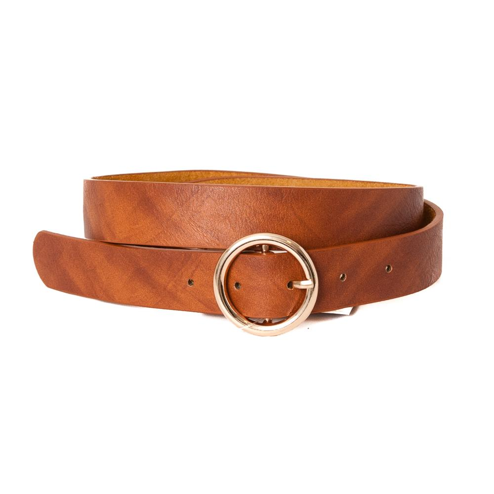 Belt, with sirkle buckle cognac, Gold Buckle