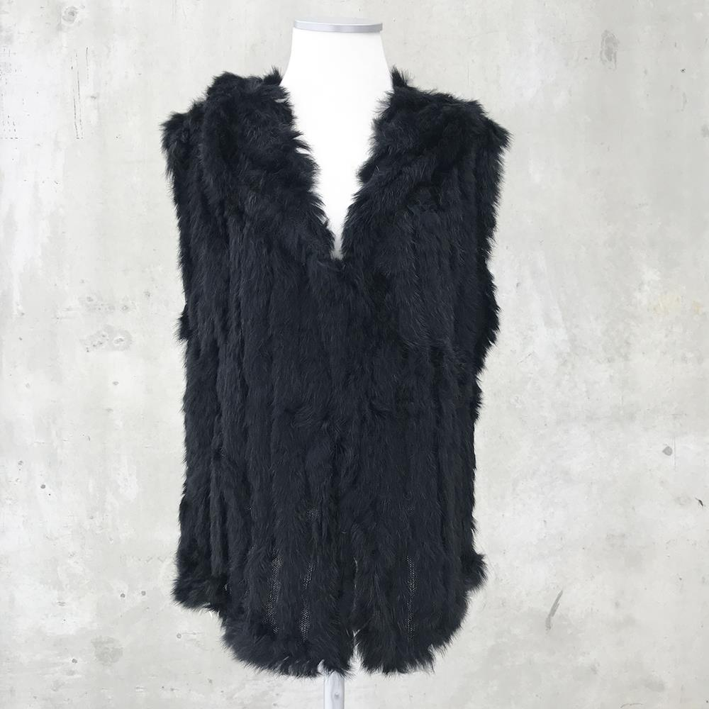 Scarf, fur west with collar Black