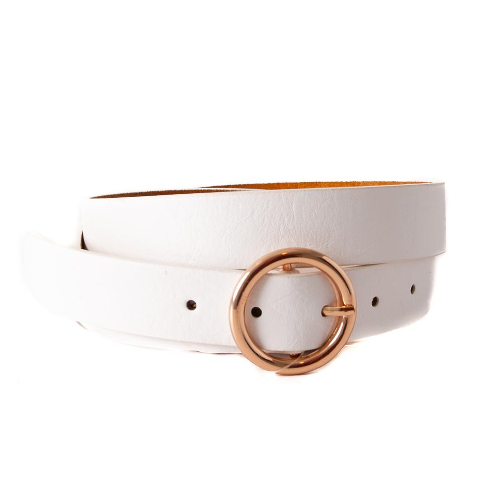 Belt, with sirkle buckle White, Gold Buckle