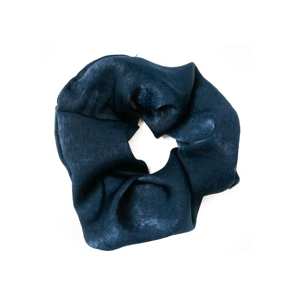 Elastic hairband, Satin solid color navy