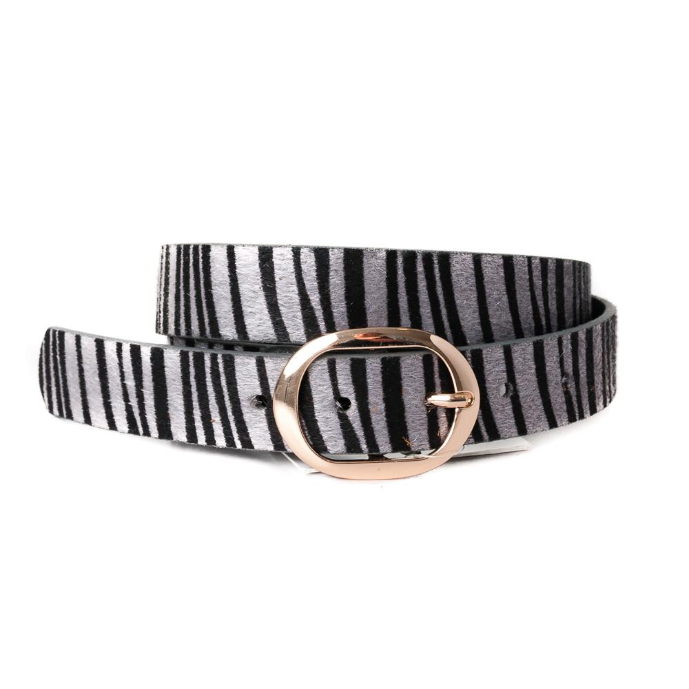 Belt, pu/leather zebra hair pattern grey