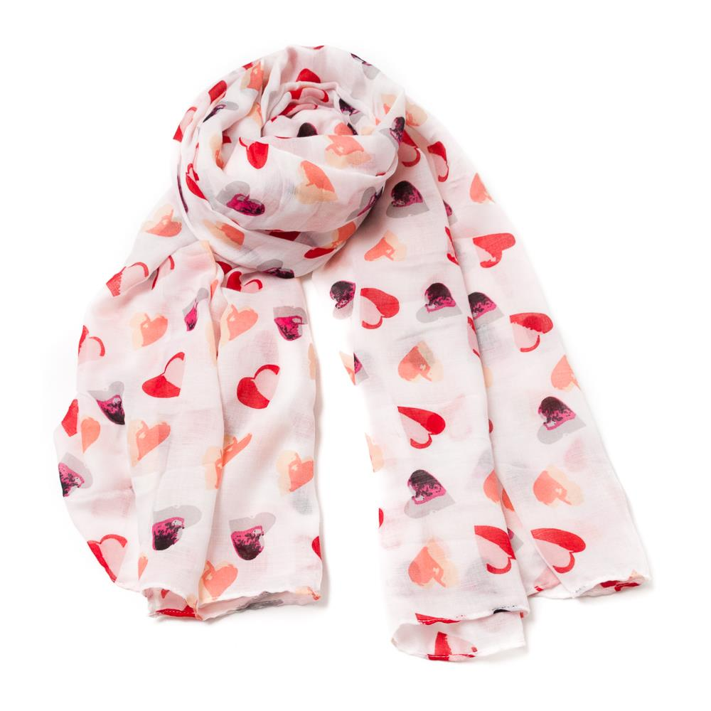 Scarf, Heartprint Red