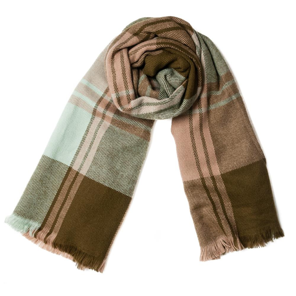 Scarf, checkprinted soft army