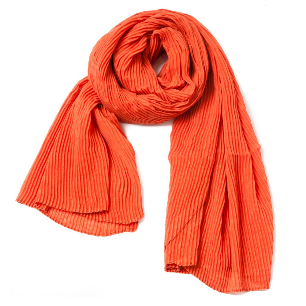 Scarf, exclusive plizze bright orange