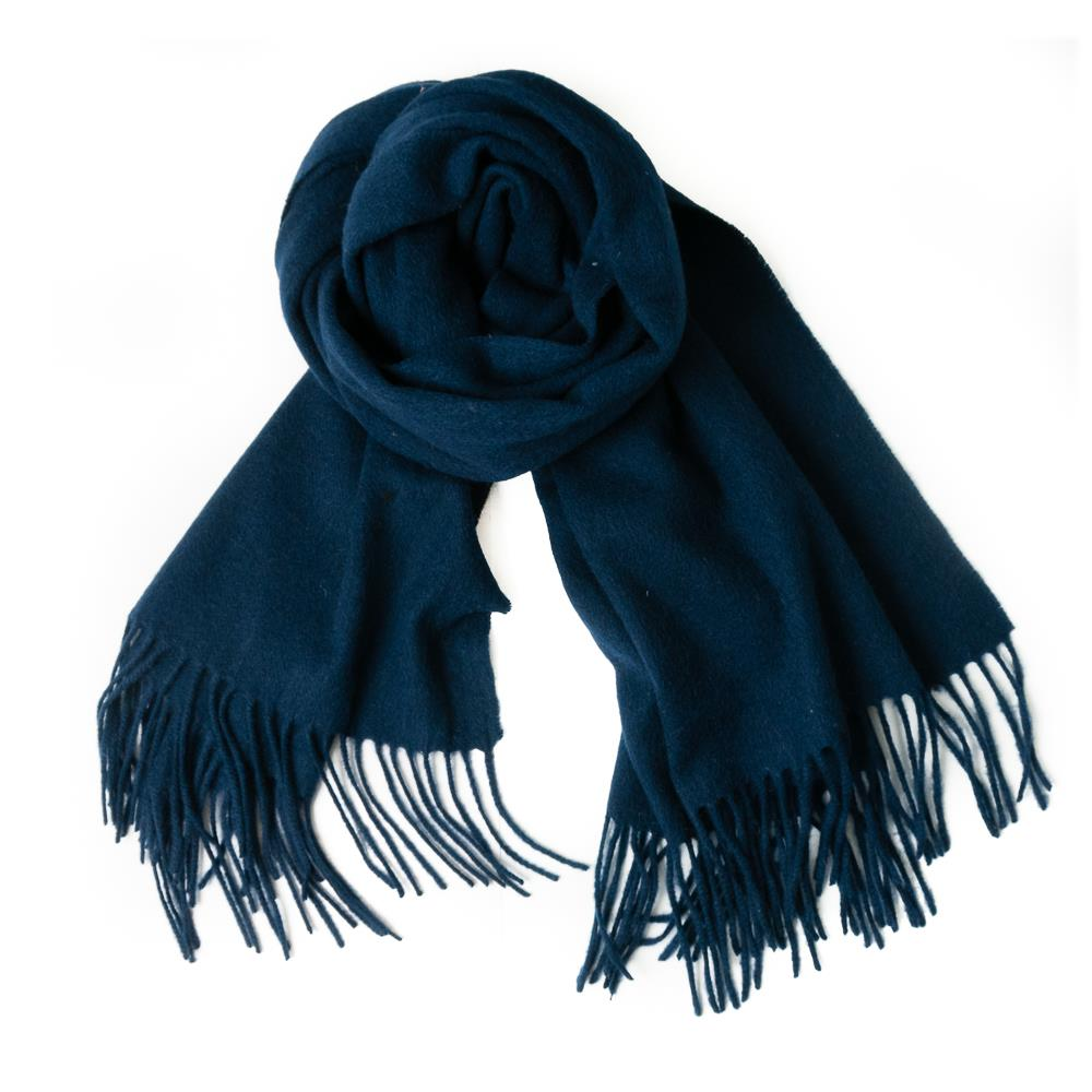 Scarf boiled wool scarf w fringes, Navy