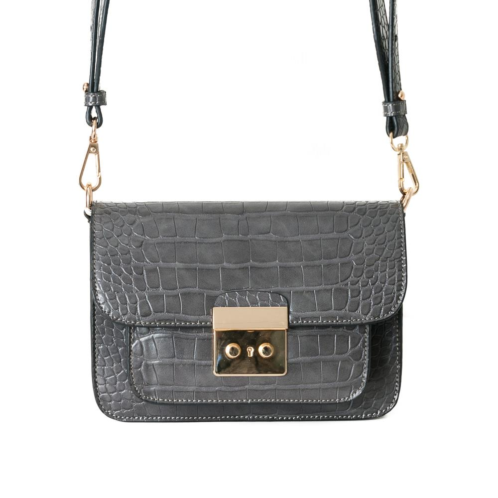 Bag, croco clutch grey