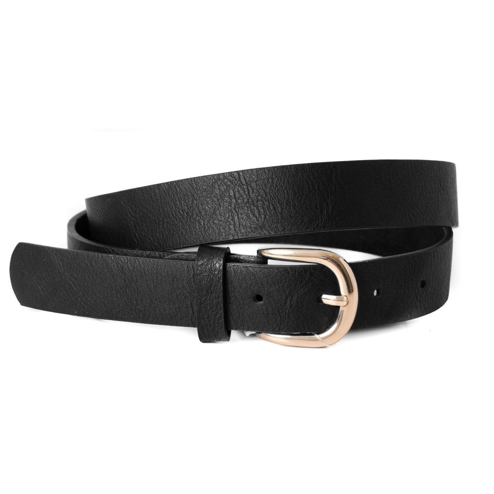 Belt, Plain with gold buckle Black