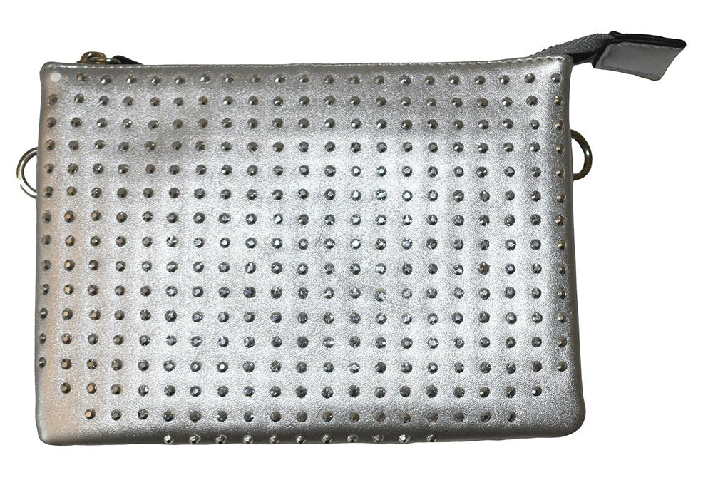 Bag, Zipper purse with strass silver