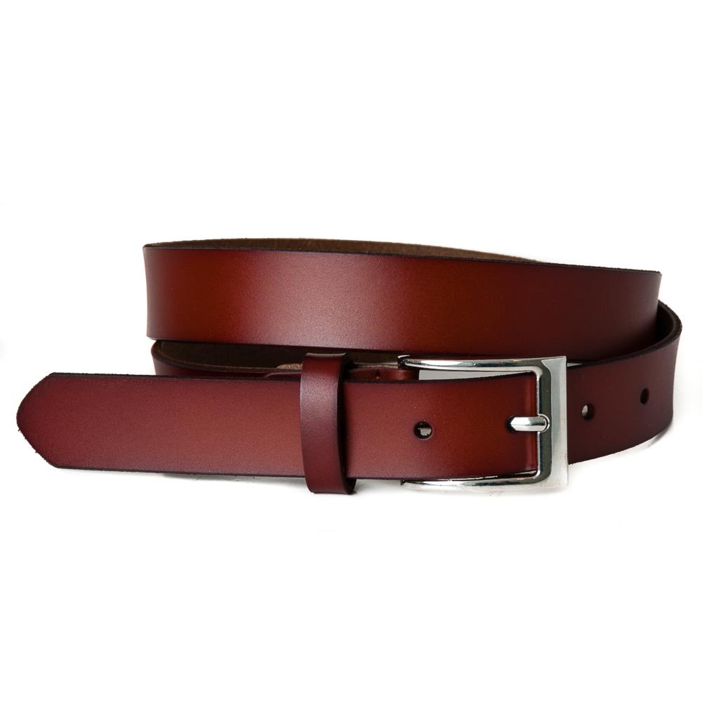 Belt, leather square buckle cognac