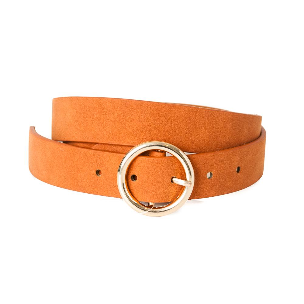 Belt, pu/leather sirkle buckle dk cognac