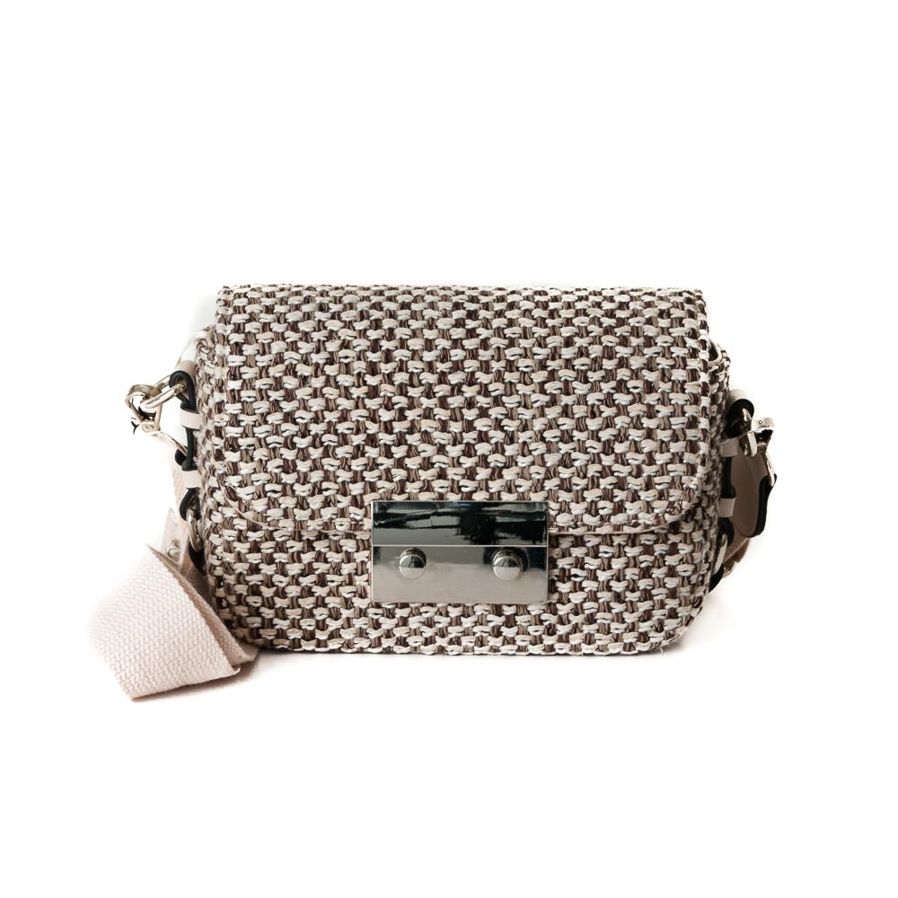 Bag, tweed clutch offwhite