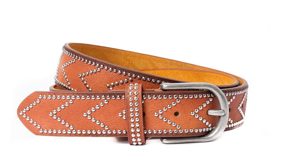 Belt, PU/Leather arrow rivets cognac