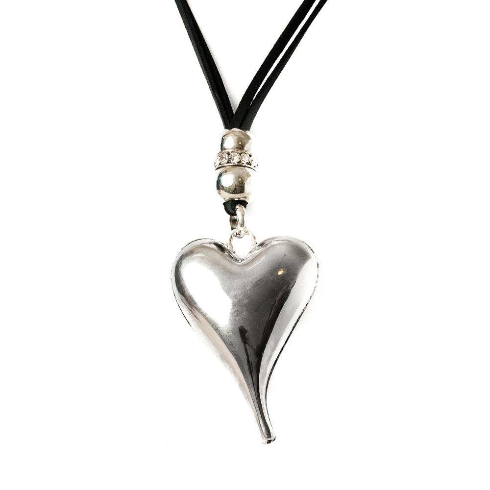 Necklace, leather heart black/silver