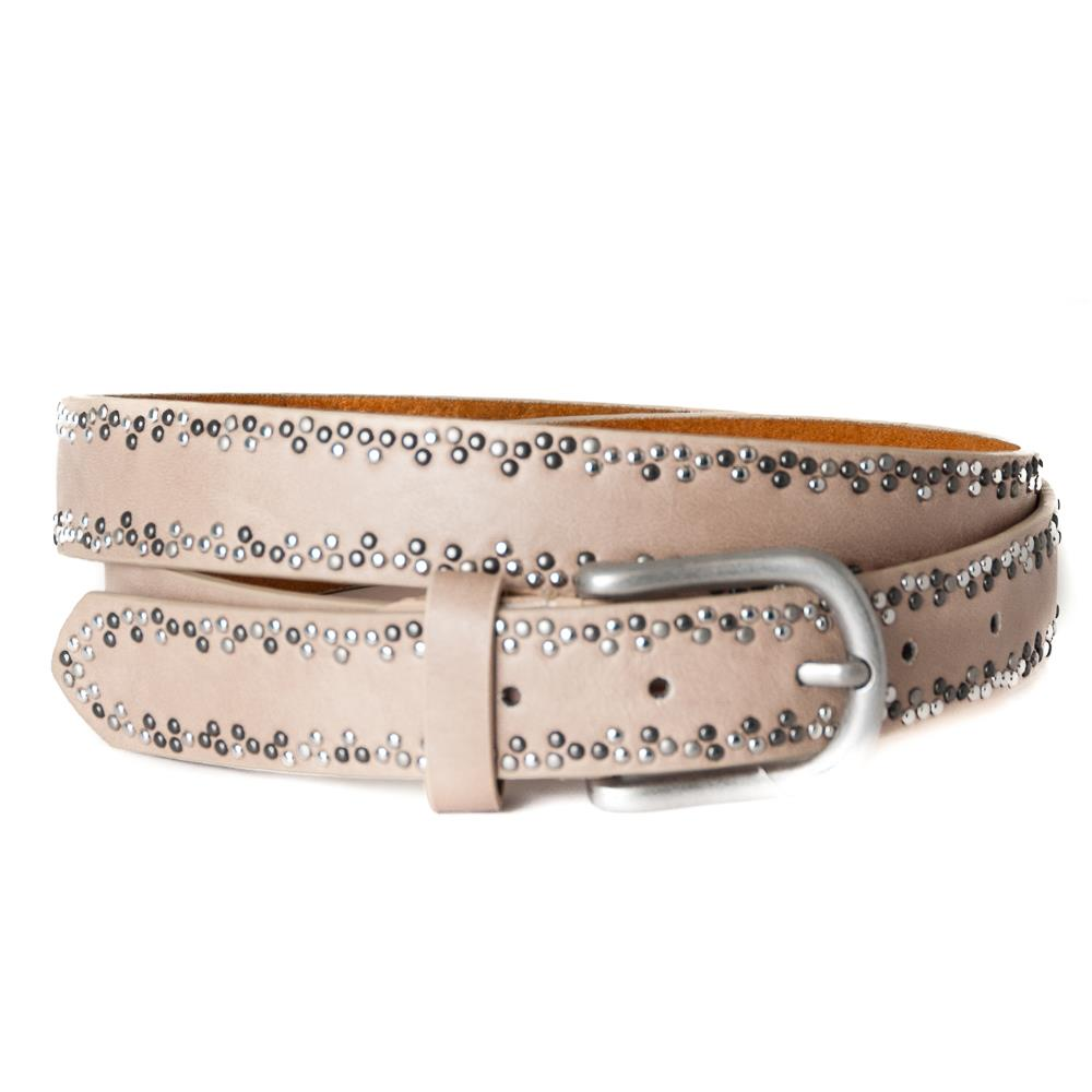 EXTRA LENGHT Belt, with rivets pattern Lt.Taupe