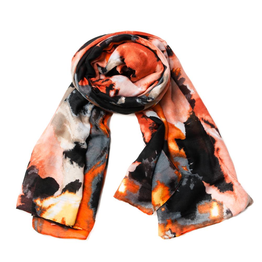 Scarf, faded multi pattern black