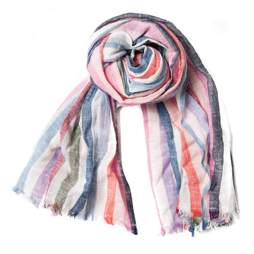 Scarf, Linnen look stripe