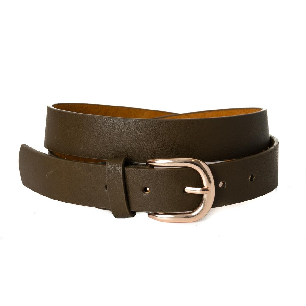 Belt, pu/leather plain gold buckle army green