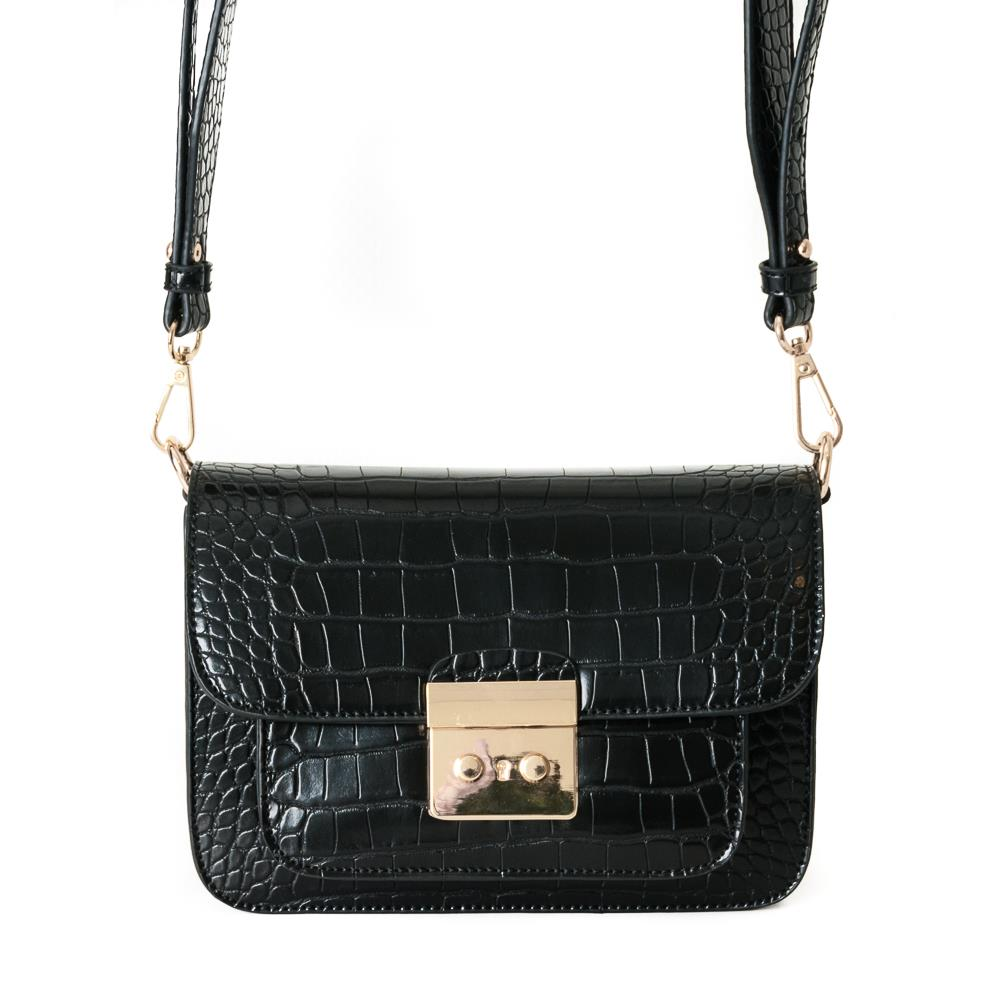 Bag, croco clutch black