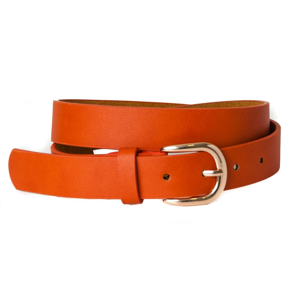 Belt, pu/leather plain gold buckle dk orange