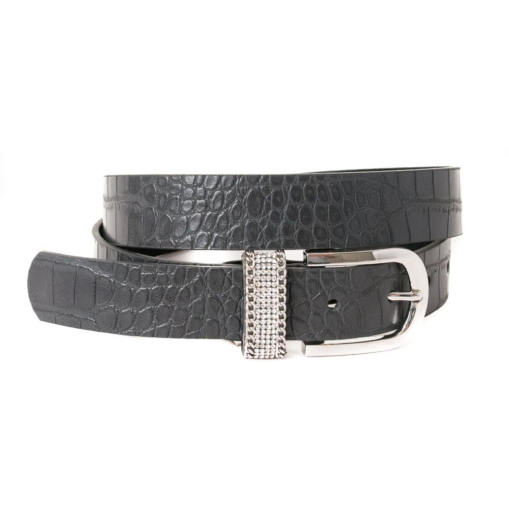 Belt, pu/leather croco strass loop grey