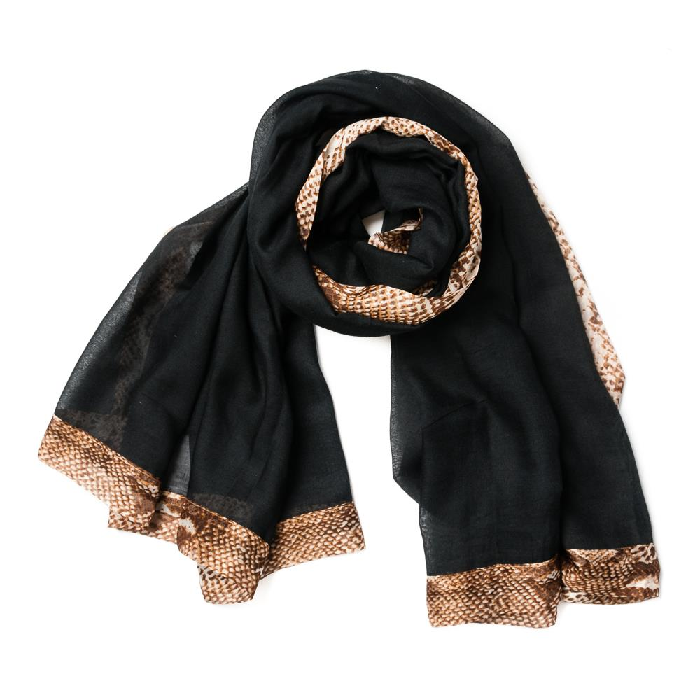 Scarf, snake edge black