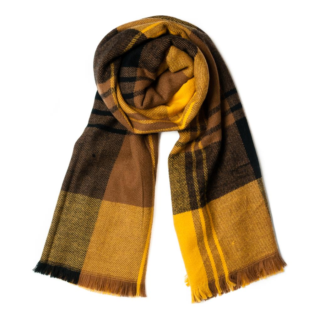 Scarf, checkprinted soft yellow