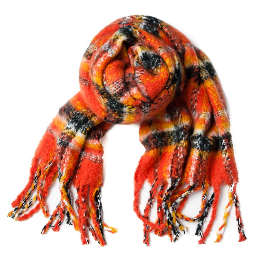 Scarf, fluffy multi square acrylic brick/orange