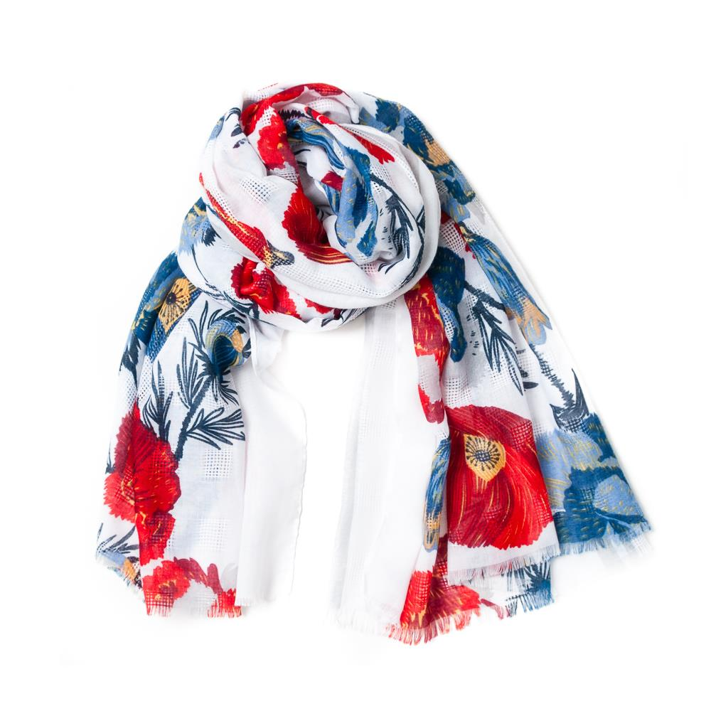 Scarf, red flower print red