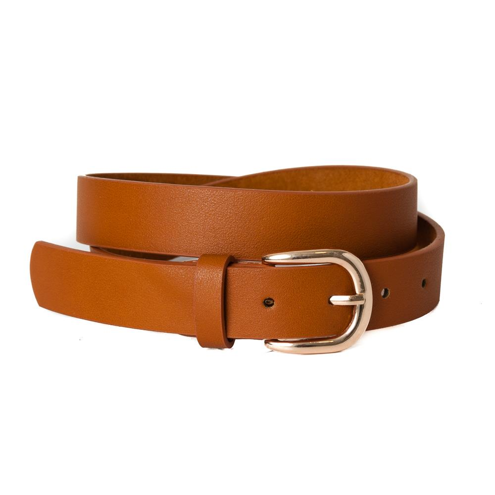 Belt, pu/leather plain gold buckle cognac