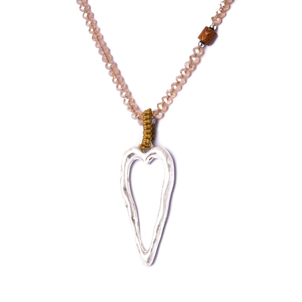 Necklace, Long necklace with heart beige