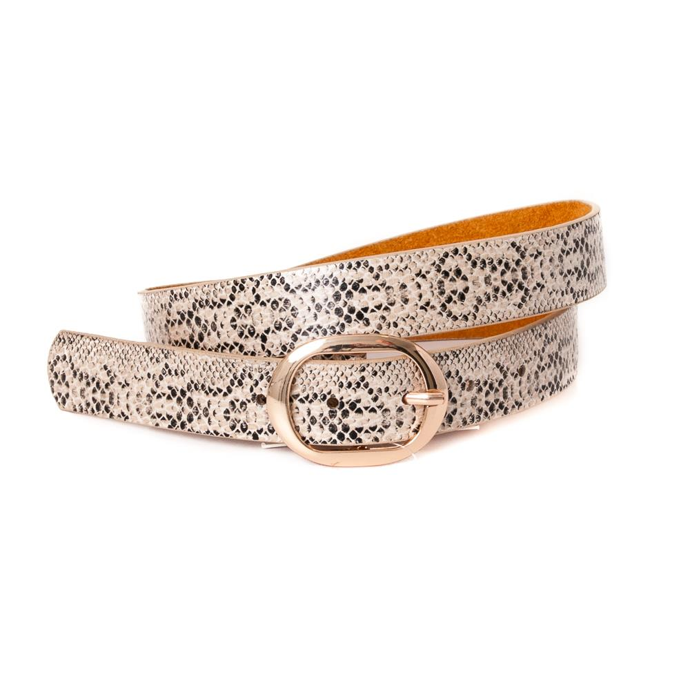 Belt, Snake pattern gold buckle Beige