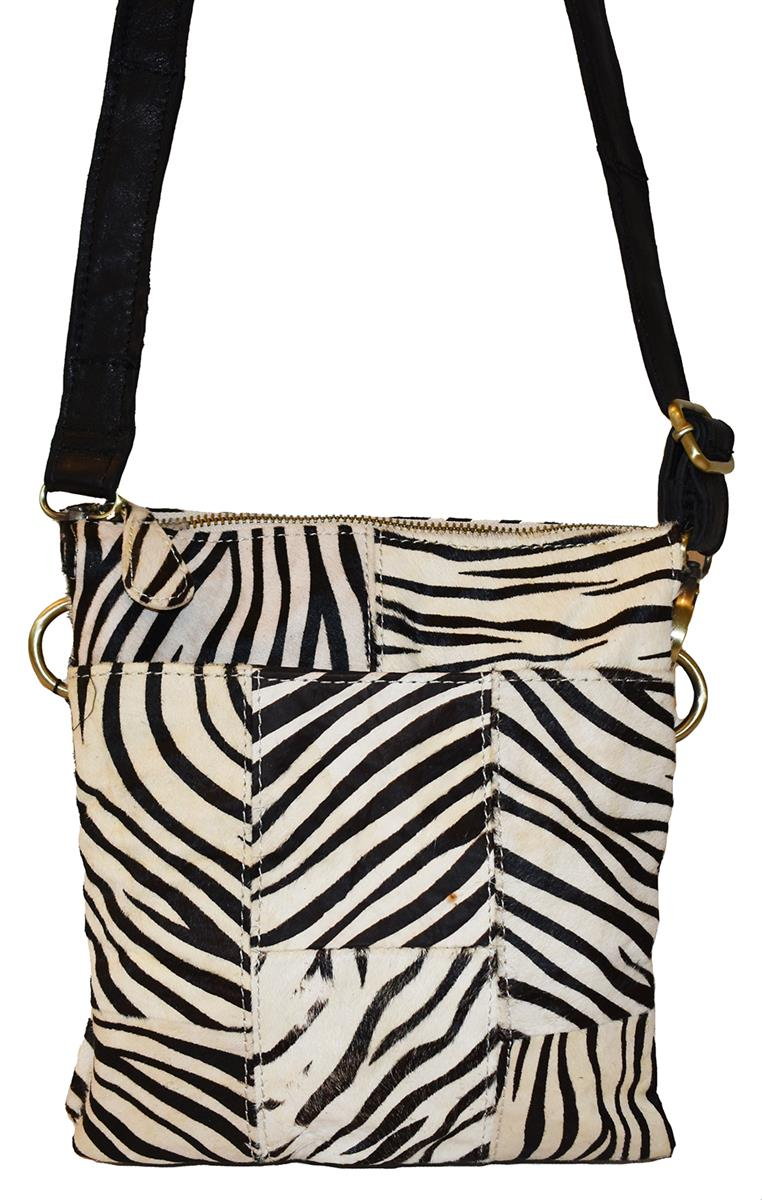 Bag, leather crossover with front pocket zebra