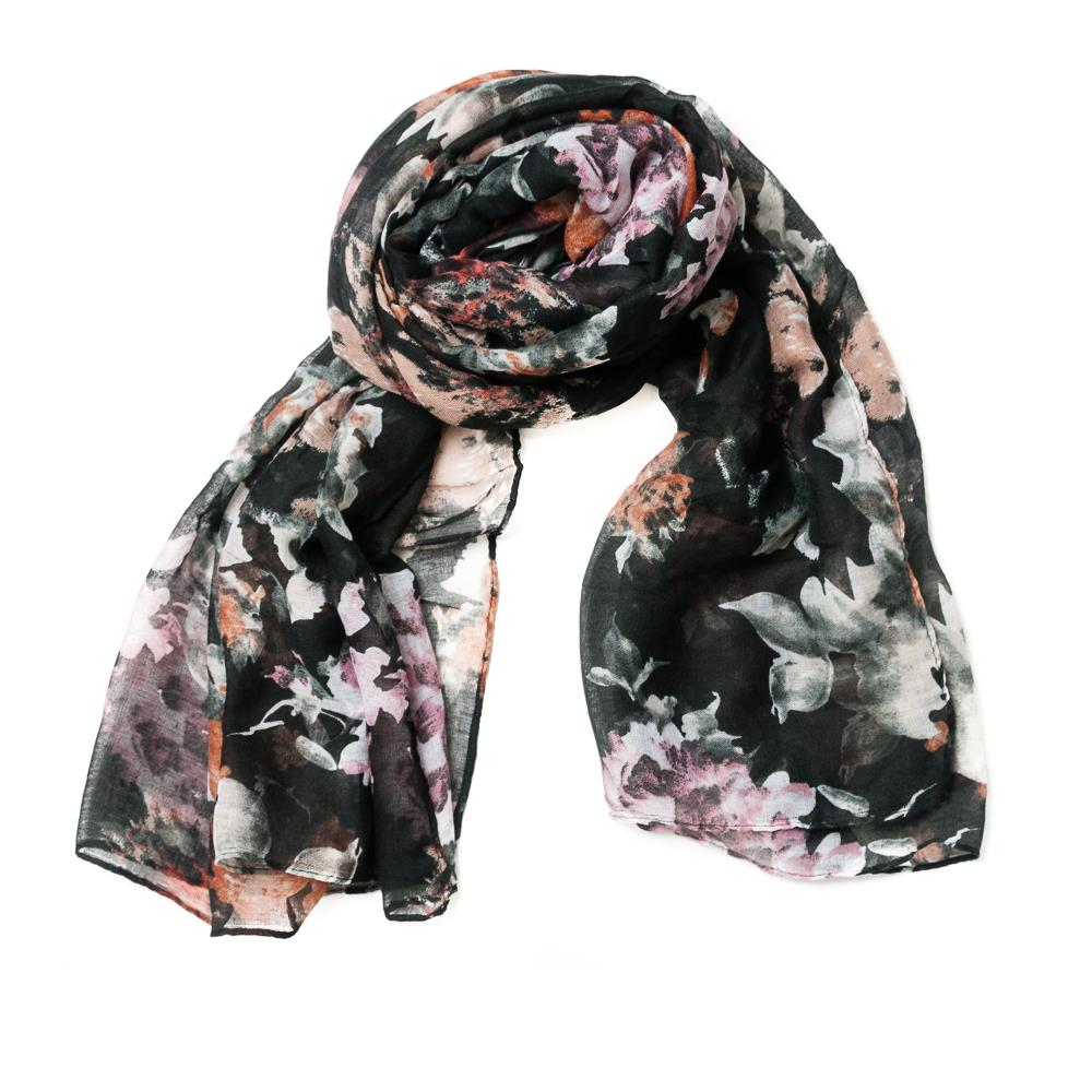 Scarf, flower print black