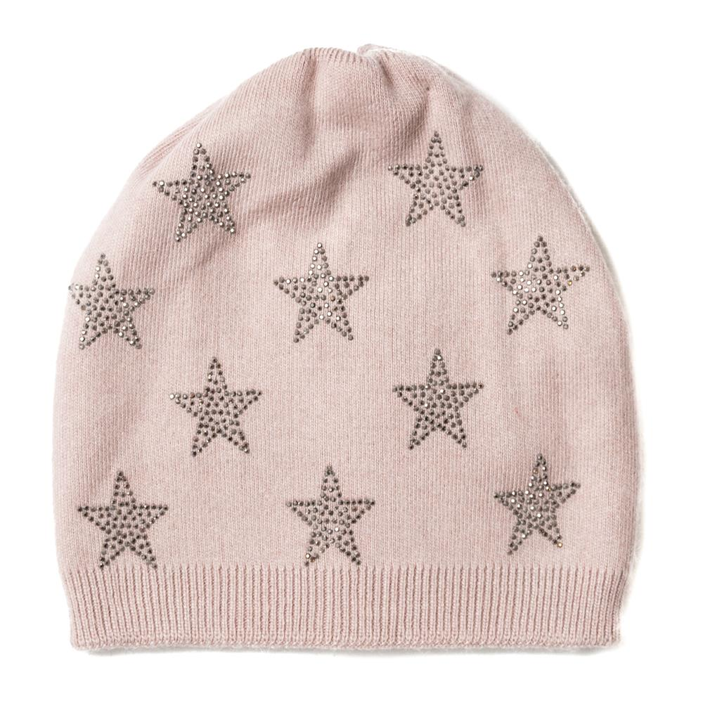 Hat, knitted w glitter stars pink